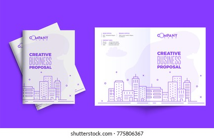 Modern purple cover for business proposal, annual report, brochure, flyer, leaflet, corporate presentation with doodle style for real estate industry.