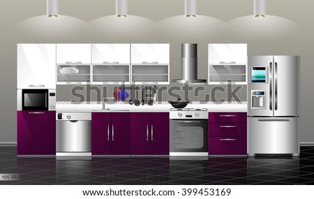 Purple Kitchen Appliances | Modern Purple Kitchen Interior Household Kitchen Stock Vector