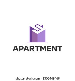 Modern Purple S Letter Apartment Logo Symbol Idea