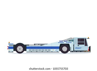 Modern Pushback Truck Airport Ground Support Vehicle Transportation Illustration