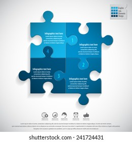 Modern puzzle infographics template.EPS 10 vector.