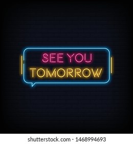 Modern Quote See You Tomorrow Neon Sign Text Vector