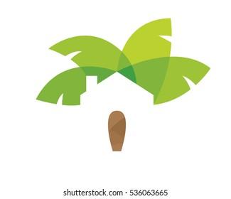 Modern Real Estate Logo - Green Tropical Estate Resort