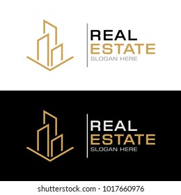 Modern Real Estate Logo Template with Line art of Building