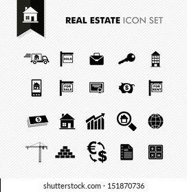 Modern Real Estate rental, sell and purchase icon set. Vector file in layers for easy editing.