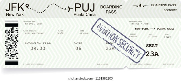 Modern and realistic airline ticket or boarding pass. Illustration with flight time and passenger name. All infomation is fictitious
