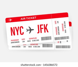 Modern and realistic airline ticket design with flight time and passenger name. Vector stock illustration.