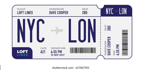 Modern and realistic boarding pass design composition with name of airline time and name on ticket vector illustration
