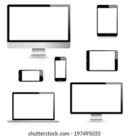 Modern realistic isolated computer, laptop, tablet and smartphone vectors set