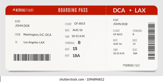 Modern realistic plane boarding pass. Filled with name and destination airplane ticket