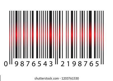 Modern Realistic Simple Barcode With Red Laser Light in Vector Illustration Isolated on White Background. Marketing, Internet Concept, Supermarket Buy, Mobile App Etc Logo barcode illustration.