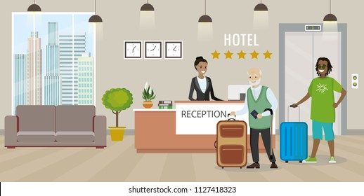 Modern reception interior with furniture.Male with suitcase and woman receptionist.cartoon vector illustration