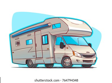 Modern Recreation Vehicle Camper. Cartoon illustration