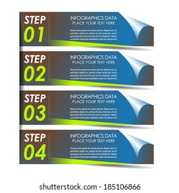 Modern rectangle infographic four steps option banner/design for business, workflow layout, diagram and working presentation/vector illustration