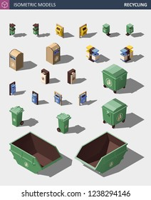 Modern Recycle Mixed Waste Garbage Bin Illustration Set. Trash Bin Icons Set. Vector Isometric 3d Illustration of Trash Bins and Containers.