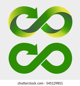 Modern recycling logo. Infinity sign. Symbol of environment. Green and yellow gradient. Nature. Arrow at the end of infinity icon. 2 variants of the same icon. 3D logo. Vector illustration