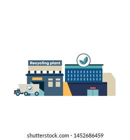 Modern recycling plant.  Environmentally friendly recycling.  Isolated flat vector illustration on background.