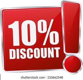 modern red 10% discount sign