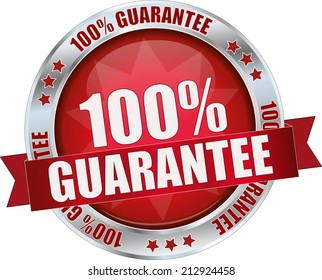 modern red 100% guarantee sign
