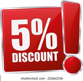 modern red 5% discount sign