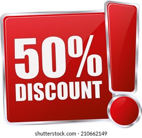 modern red 50% discount sign
