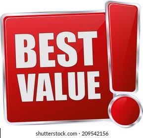 modern red best value sign