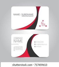 Modern red and black business name card template design.