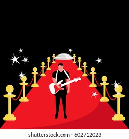 modern red carpet with one single Musician and guitarist man or male with electric Guitar vector isolated. vip event with gold rope barrier night celebrities illustration flat design & a small stage