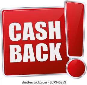 modern red cash back button