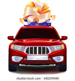 Modern red crossover car with blue gift box with bow and ribbons in trunk. Front view isolated on white background.
