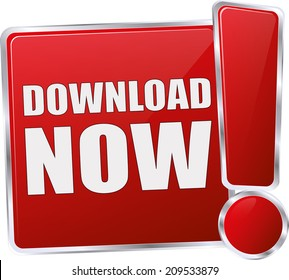 modern red download now button