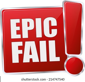 modern red epic fail vector eps10 sign