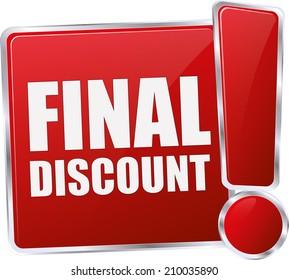 modern red final discount sign