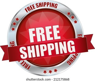 modern red free shipping sign