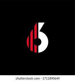 Modern Red Geometric Vector Logo Number 6. 6 Number Stripes Design Vector