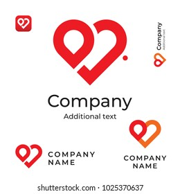 Modern Red Heart Line Logo. Love Identity Brand and App Icon Symbol. Commercial Concept Set Template Vector