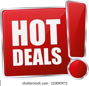 modern red hot deals sign
