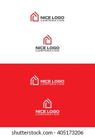 modern red house logo, real estate logotype