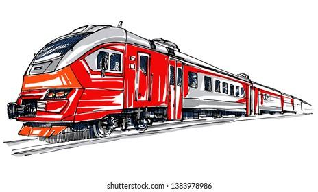 Modern red locomotive. Railway station sketch