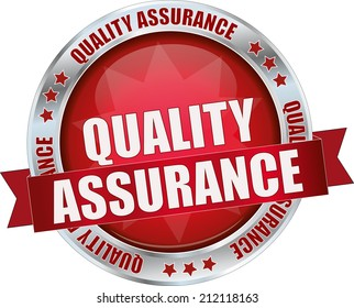 modern red quality assurance sign