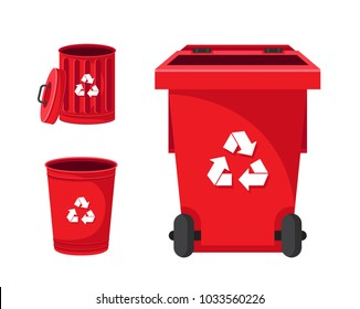 Modern Red Recycle Electronic Waste Garbage Bin Illustration Set, Suitable For Illustration, Book Graphics, Icons, Game Asset, And Other Recycle Related Activities.