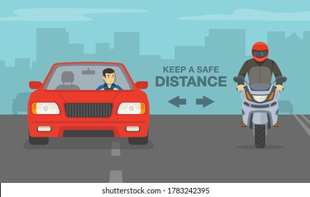 Modern red sedan car and sport motorcycle on a highway. Keep a safe distance poster design. Flat vector illustration template.