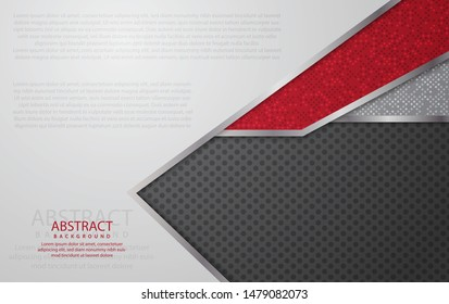 Modern red and silver background vector overlap layer with space for text, abstract style for background design. Texture with glittering squares. EPS 10