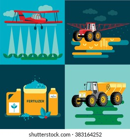 modern red tractor in the agricultural field;  crop duster spraying agricultural chemicals pesticide a farm field. Vector Illustration.