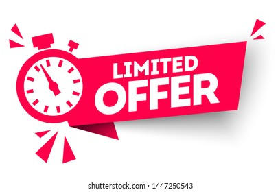 Modern red vector banner ribbon limited  offer with stop watch.