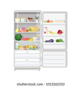 Modern refrigerator with opened door full of various healthy vegetarian food - fresh fruits and vegetables, dietary products, wholesome daily meals. Colorful vector illustration in flat style.