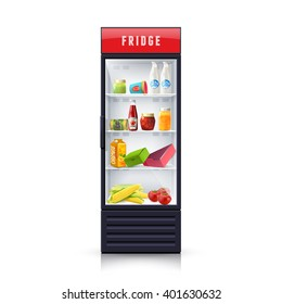 Modern refrigerator with vegetables dairy and canned products and transparent front panel icon print realistic vector Illustration