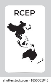 Modern Regional Comprehensive Economic Partnership (RCEP) map. Vector Illustration. EPS10