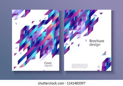Modern report cover, trendy background template with vibrant blue purple gradient bold color, abstract geometric triangle polygonal shapes flow. Vector , poster, ppt presentation layout