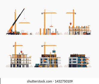 Modern residential building construction process and stages. Set of vector flat design illustration on housing unit construction site